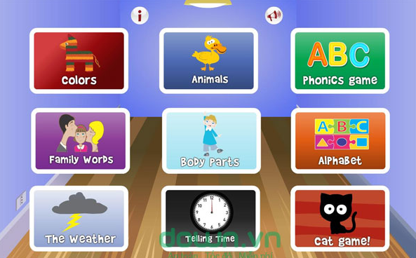 Phần mềm học tiếng Anh trẻ em English for kids for Android