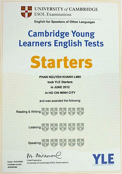 Chứng chỉ tiếng Anh quốc tế Starters là gì?