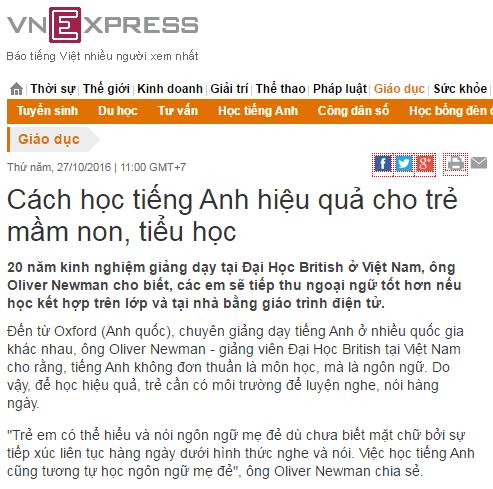 Báo chí nói gì về học tiếng Anh cho trẻ em online tại Alokiddy