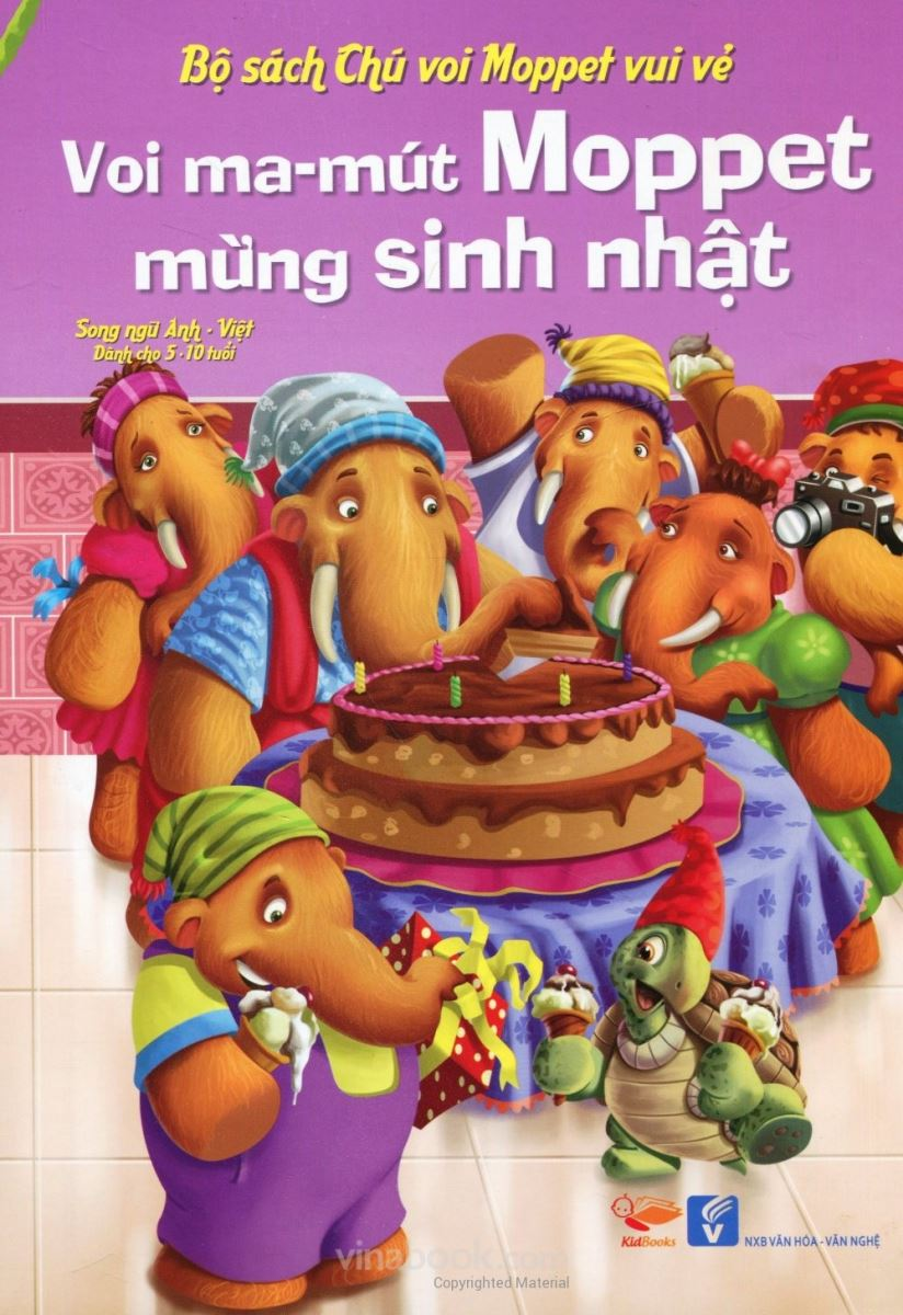 Combo truyện tiếng Anh mẫu giáo Voi ma-mút Moppet vui vẻ