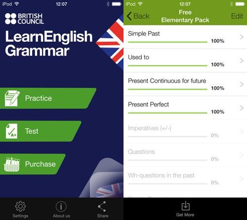 Phần mềm học ngữ pháp tiếng Anh cho trẻ lớp 4 LearnEnglish Grammar