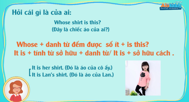 Học tiếng Anh lớp 3 unit 10 Whose T-shirt is this?