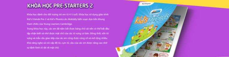 Khóa học Pre-Starters 2 cho trẻ lớp 1 tại Trung tâm tiếng Anh Alokiddy