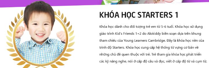 Khóa học Starters 1 cho trẻ 6 tuổi tại trung tâm tiếng Anh Alokiddy