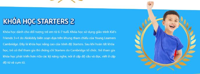 Khóa học Starters 2 cho trẻ lớp 2 tại trung tâm tiếng Anh Alokiddy